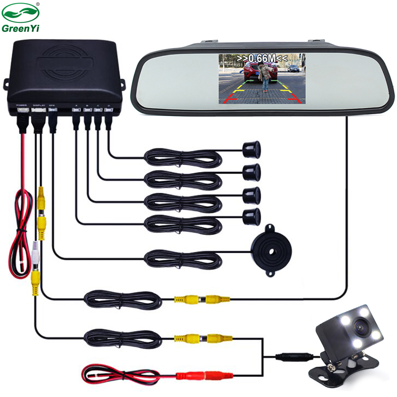 3 in 1 Car Video Parking Sensor Assistance System With Rear View Camera+4.3 inch LTF LCD Car Mirror Monitor+Video Parking Sensor 3 in 1 monitor parking camera video system 7 inch rear view mirror monitor with back up mini camera with 4 sensor radar parking