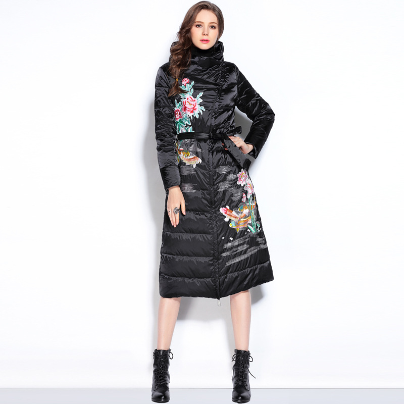 Long Vestes Femmes Down Broderie Manteau Style Veste Le Chinois Parka Vers Bas De 2016 Fleur Mince Noir D'hiver IwxUcZ