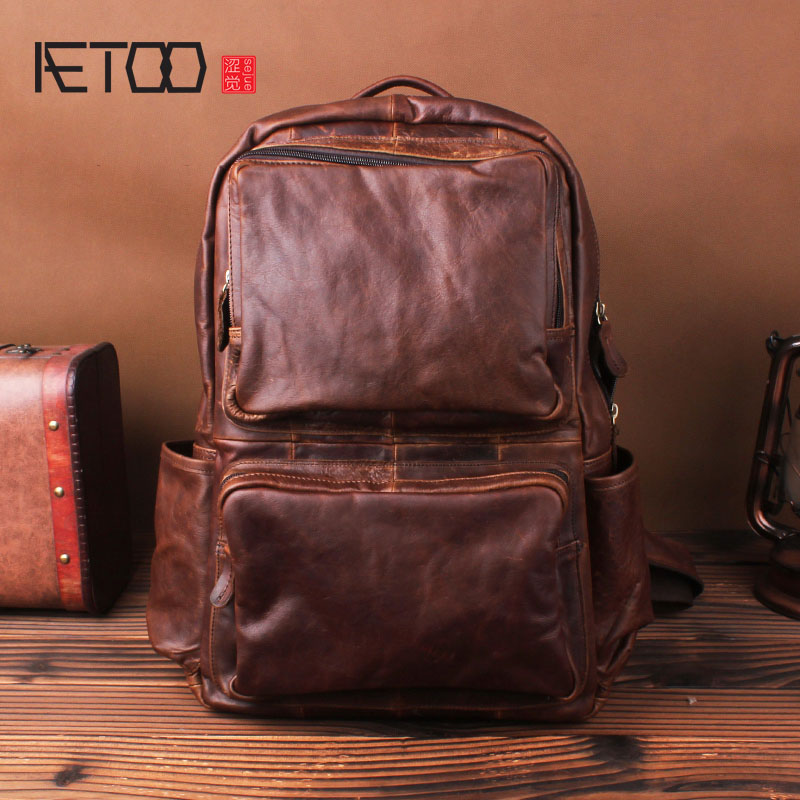 AETOO Crazy horse leather shoulder bag men's leather fashion  of the first layer of leather travel backpack business computer aetoo crazy horse skin large capacity shoulder bag male imports the first layer of leather handmade backpack female travel bag