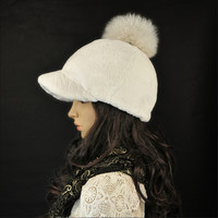 Brand New Genuine Rex Rabbit Fur Fox Fur Pom Poms Women's Girls Winter Warm Causal Baseball Hat Cap Adjustable Free Shiping