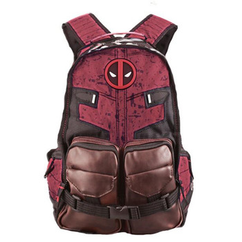 Hot Superhero Movie Deadpool Backpack Cosplay Anime High Capacity Schoolbag Student Leisure Knapsack Red Style Fans