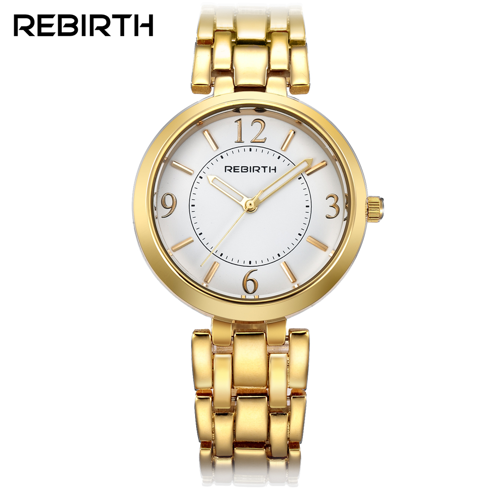 REBIRTH Quartz Watch Women Fashion Casual Watches Relogio Feminino Montre Femme Reloj Mujer Full Gold Waterproof Wristwatches new design square women watches rebirth popular brand fashion casual ladies watch quartz clock grey wristwatches reloj mujer