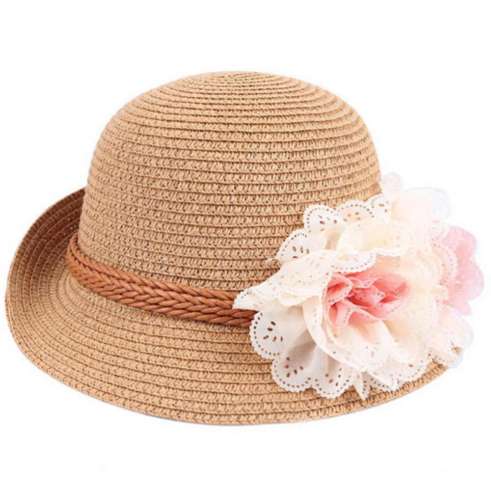 เด็กน่ารักสาวดอกไม้ฟางหมวกเด็กผู้หญิงขนาดใหญ่ Brim Beach ฤดูร้อน Boater ชายหาดริบบิ้นรอบแบน Top Fedora 52 ซม.