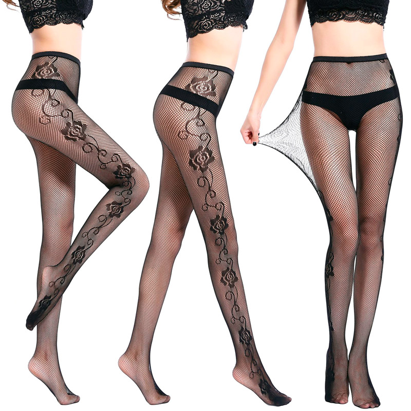 52a36cc29 LIMSISNIW Women Fashion Sexy Fishnet Tights with Roses Pattern Decorate on  2 Sides Ladies Black Brief Style Flowers Pantyhose-in Tights from Underwear  ...