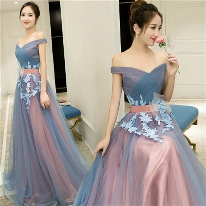 Lace   Bridesmaid     Dresses   Boat Neck Floor Length   Bridesmaid     Dress   Appliques   Dress   for Wedding Party vestidos largos Mingli Tengda