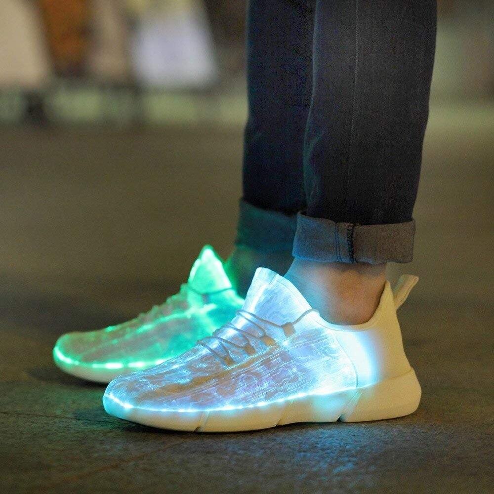Luminoso tela de fibra óptica Light Up zapatos LED 11 colores intermitente blanco adulto y niñas y niños USB recargable zapatillas con luz