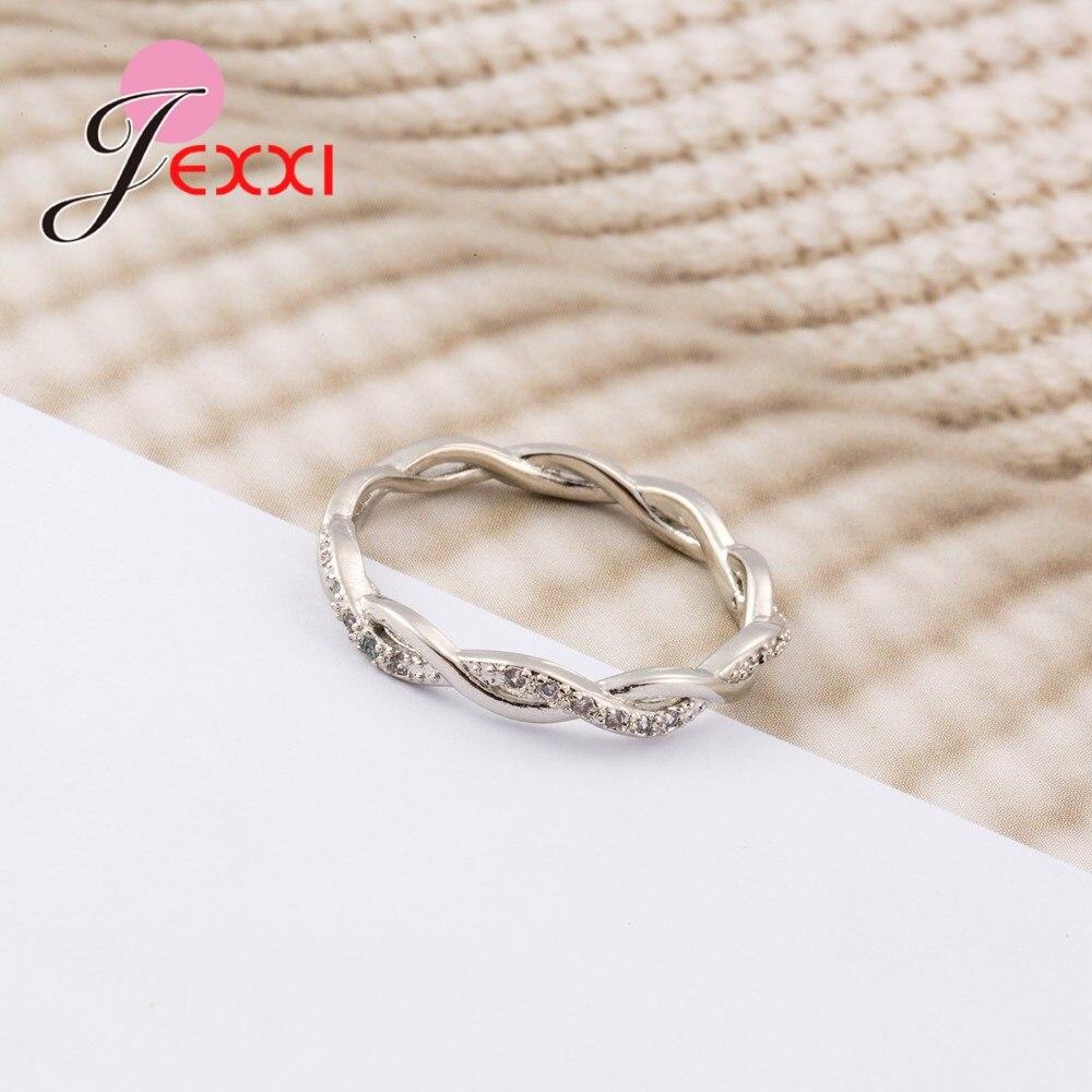 New Arrival Elegant Pure 925 Sterling Silver Special Beautiful Winding Shinning Rhinestone Fine Rings Good Girls/Women