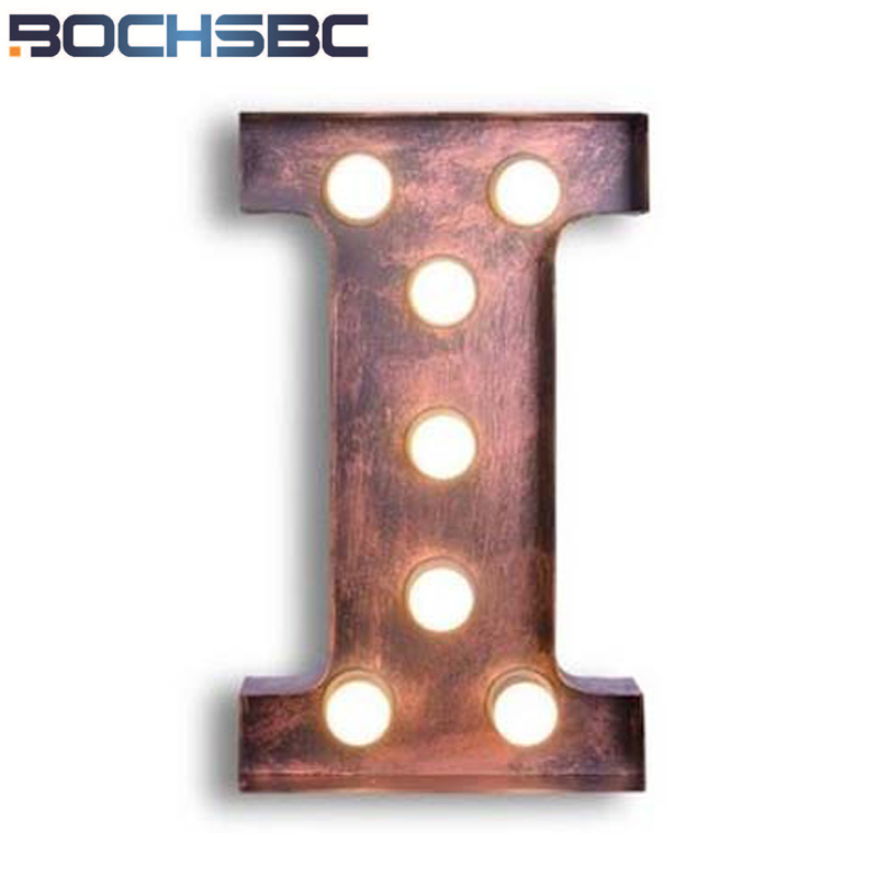 BOCHSBC Creative Simple Art Letters I Lights Vintage Wall Sconce Lamp Deco Company Logo I Lights for Living Room Lampada E27