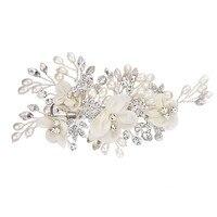 Fashion Handmade Flower Side Hair Clip Rhinestone Beads Hairpin Bridal Headpiece Wedding Accessory