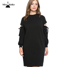 Misskoko Women Plus Size Dress Solid Black Hollow Out Long Sleeve Female Casual Dresses Big Size 3XL 4XL 5XL 6XL 7XL(China)