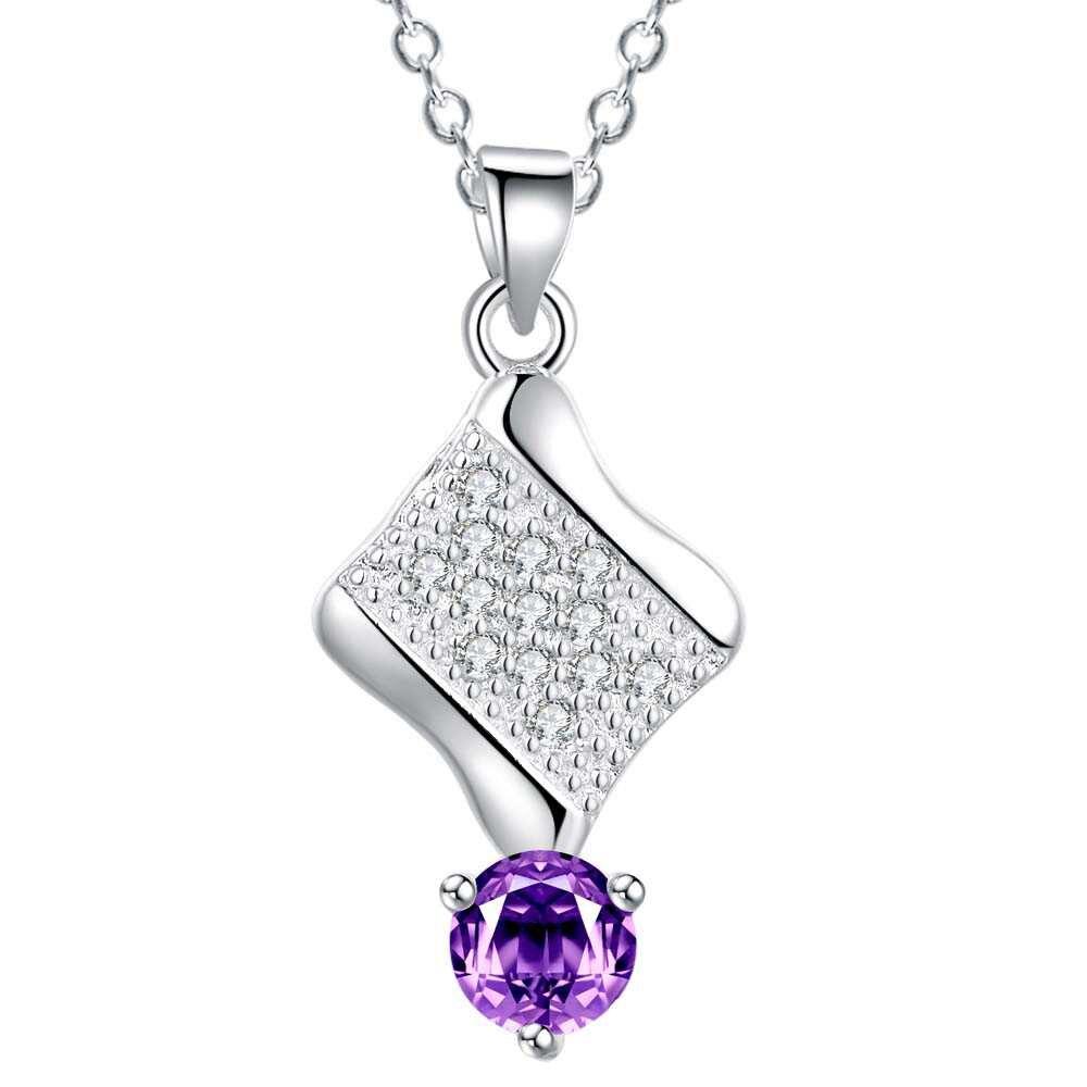 d21025bc4b10c Gros argent plaqué charme jewelrys Collier, livraison gratuite 925 bijoux de  mode pendentif Les étoiles incrusté violet pierre AN808