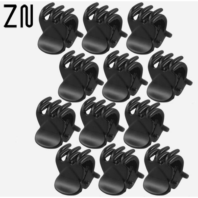 ZN 12 pcs/sets Fashion Women crab Hair claw clip Girls Black Plastic Mini Hairpin Claws Hair Clip Clamp For Women Gifts