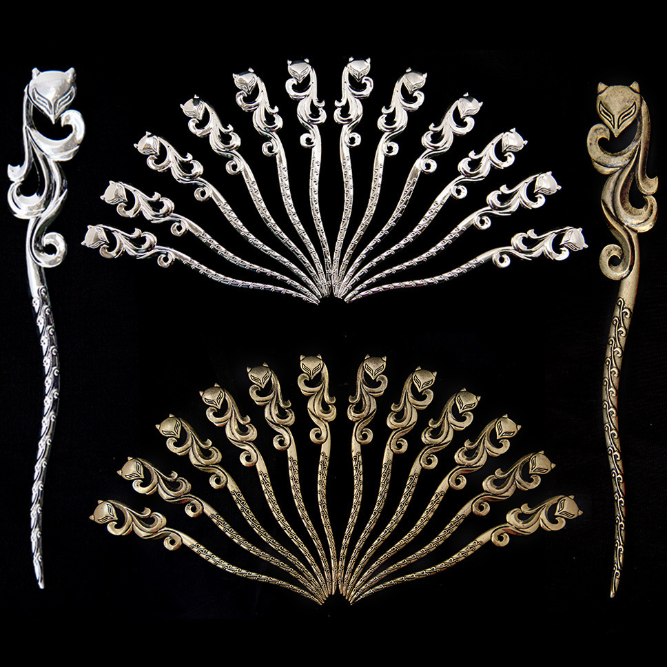 10 PCS 25*160MM Vintage Metal Alloy Fox Hair Sticks Hairpin Antique Bronze/Gold/Silver Color Hairpin Jewelry For Women