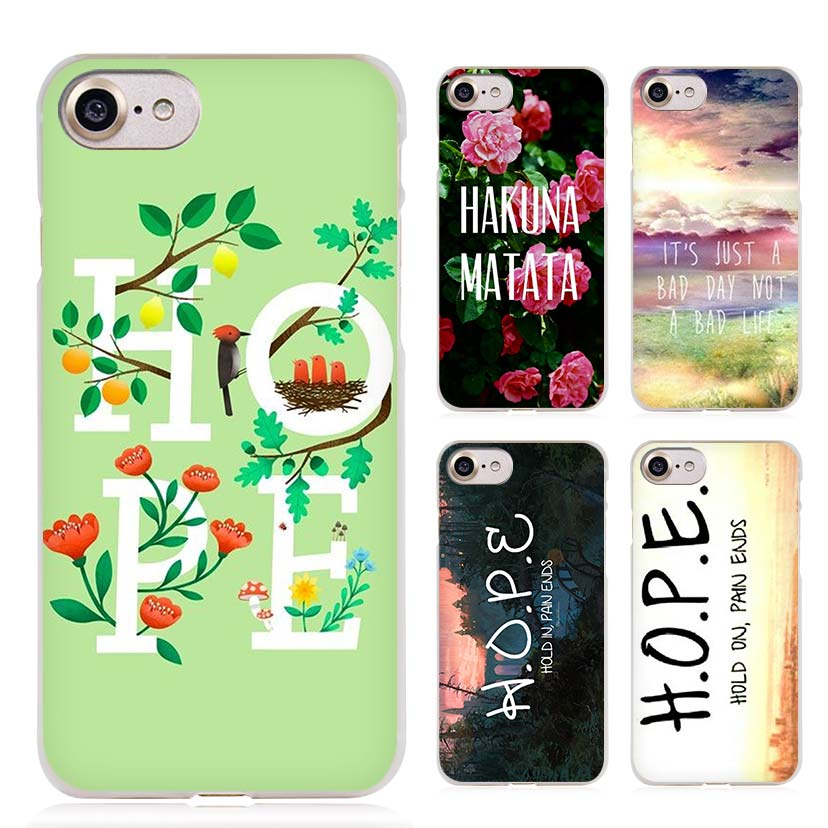 Hold On Pain Ends H.O.P.E Clear Cell Phone Case Cover for Apple iPhone 4 4s 5 5s SE 5c 6 6s 7 7s Plus