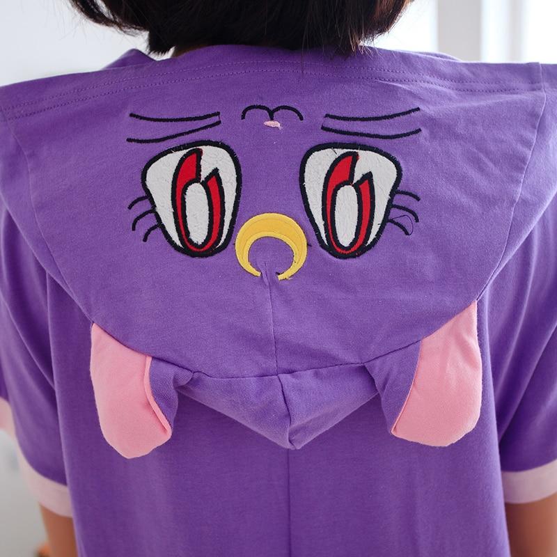 Kawaii violetinė katė Anime Odinės pižamos suaugusiems vasaros gyvūnams Pijams Unisex medvilnė trumpomis rankovėmis gyvūnų pižamos