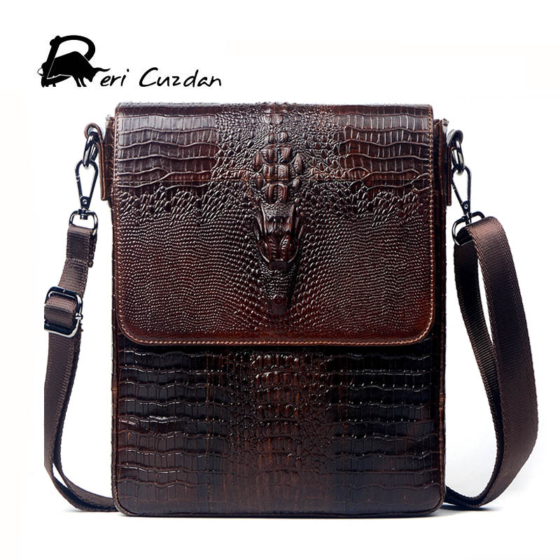 DERI CUZDAN Crocodile Men Genuine Leather Bag Natural Cowskin Men Messenger Bags Vintage Men's Cowhide Shoulder Crossbody Bags 2016 new 100% guarantee genuine leather men bag high quality natural cowskin men messenger bags vintage shoulder crossbody bag