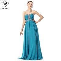 Wechery Vestidos Blue Formal Dress 2018 Lace Up Chiffon Evening Gowns Women Sexy Maxi Clothes Strapless Long Dresses Big Size