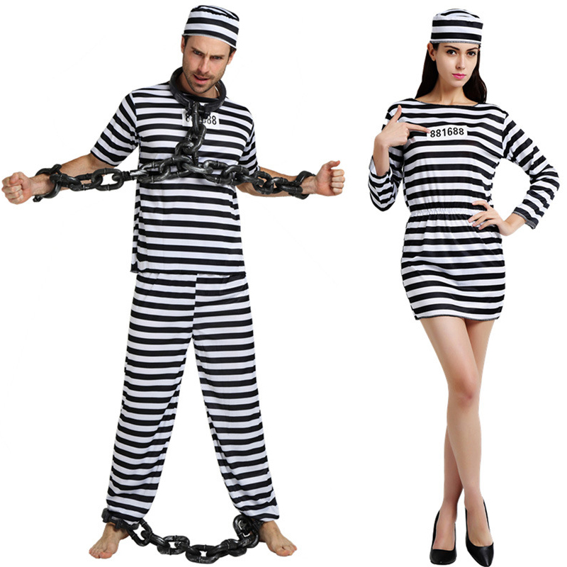 Black White Striped Clothing Male Female Prisoner Prison Uniform With Hat Halloween Costume Adult Party Cosplay Clothes For Men