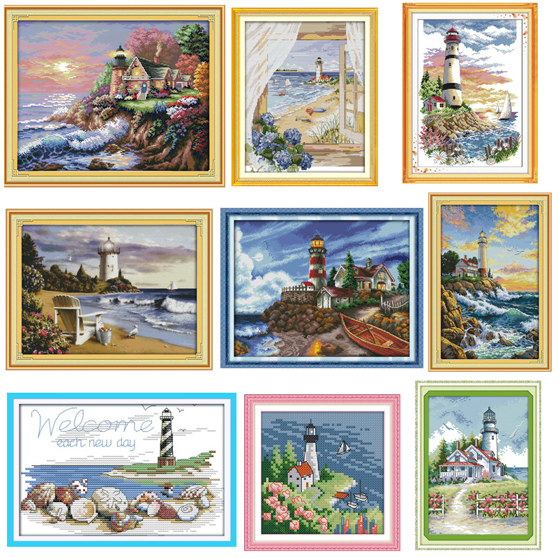 The Seaside Lighthouse Paintings Counted Printed On Canvas 14CT 11CT DMS Cross Stitch Pattern Embroider Kits DIY Needlework Sets