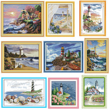 Морской Маяк картины Счетный напечатанный на холсте 14CT 11CT DMS вышивки крестом шаблон вышивания наборы DIY наборы для рукоделия