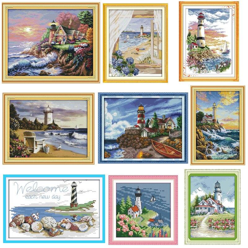 Морской Маяк, картины, напечатанные на холсте, 14CT 11CT, DMS, вышивка крестиком, вышивка, наборы, сделай сам, рукоделие, наборы|counted cross stitch kits|printed cross stitch|printed cross stitch kits - AliExpress