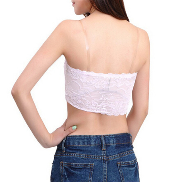 New Arrival Women's Sexy Lace Casual Crop Boob Tube Top Bandeau Strapless Seamless Solid Black White Pink Nude Female Accessory