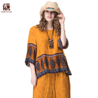 Jiqiuguer Women Boho Cotton Linen Tops Tees Vintage Plus Size O Neck Floral Print Patchwork Casual