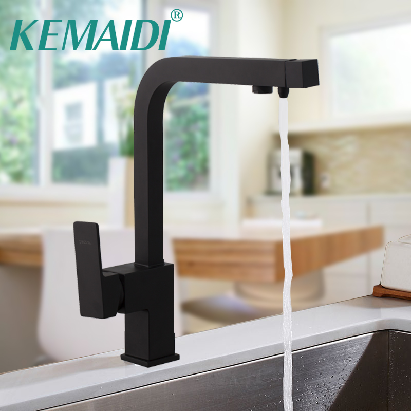 KEMAIDI Kitchen Sink Faucet Deck Mounted Brass Basin Faucet with Water Purification Featur
