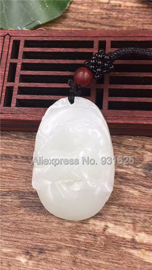 все цены на Wonderful Natural White HeTian Yu Carved Chinese Amulet Tiger Lucky Pendant + Rope Necklace + certificate Fashion Jewelry
