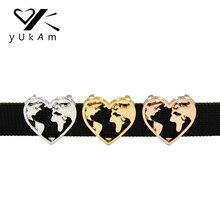 Ювелирные изделия yukam серебро розовое золото полые сердце земля Глобус путешествия карта мира слайд талисманы хранитель для DIY браслет аксессуары для изготовления