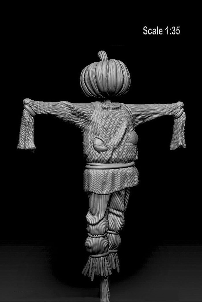 Assembly Unpainted  Scale 1/35 Scarecrow With Pumpkin Head  Historical Toy Resin Model Miniature Kit