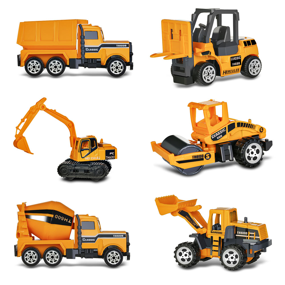 6 in 1 Mini Engineering Car Diecast Alloy Construction Vehicle Dump-car Dump Truck Model Classic Toy Mini gift for Children Toy