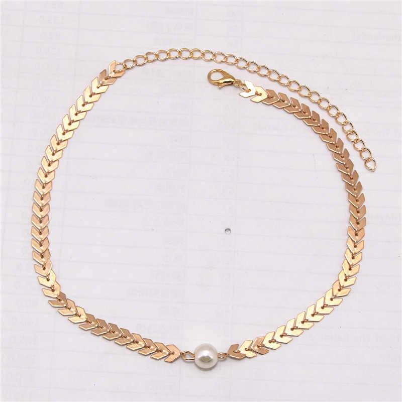 2019 frauen Mode Halskette Drehmomente Collares Collier Bijoux Brief V Kette Simuliert-perle Colliers Halsketten Für Frauen Schmuck
