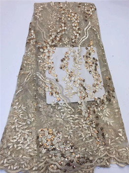Latest High Quality African beads Tulle Lace Fabric 2019 sequins French Lace Fabric For Wedding Nigerian Lace Material Gold