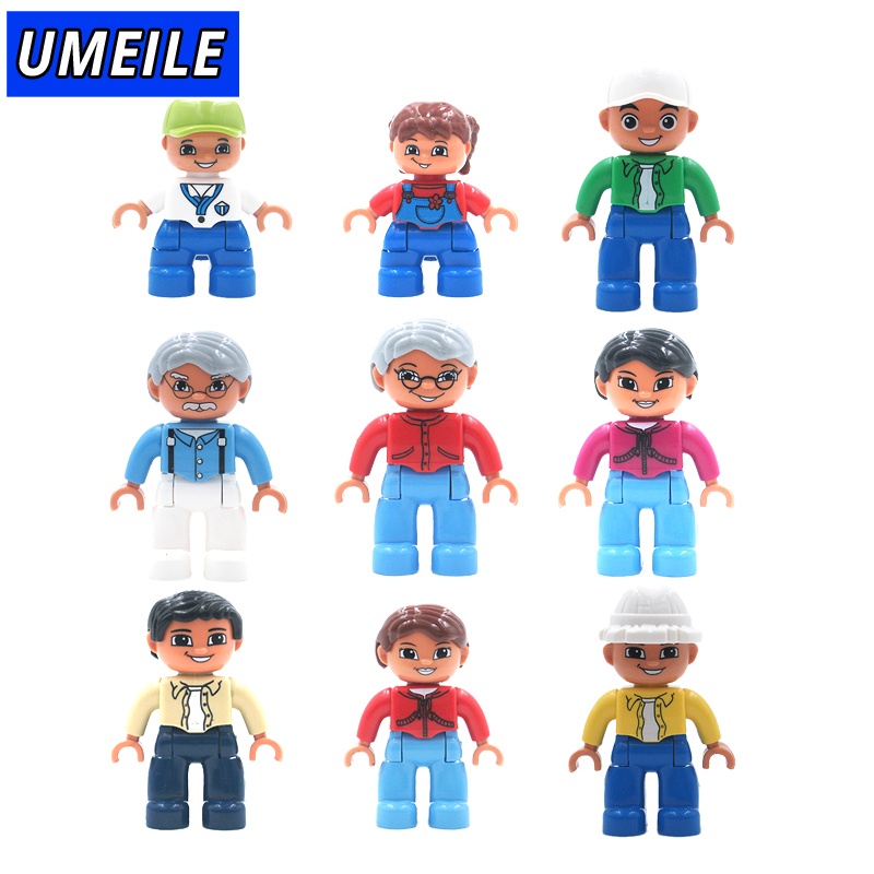UMEILE Brand Original Classic 9 Style City Family Figure Large Particle Building Blocks Toys Brick Gift Compatible with Duplo role family worker figure character large particle building blocks original accessory toys compatible with duplo diy kids gift