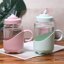 Creative Brief Glass Water Bottle With Handle Insulation Household Men And Women Office Cups Portable Straw Cup