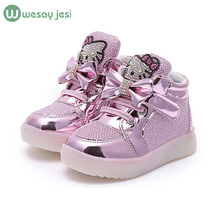Girls font b shoes b font baby Fashion Hook Loop led font b shoes b font