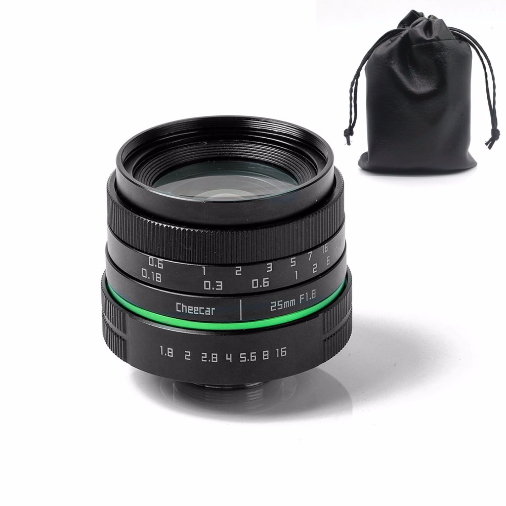 New green circle 25mm APS-C CCTV camera lens for sony NEX canon E0SM N1 PQ Panasonic Lumix micro camera +gift free shipping mirroless for aps c camera 35mm f 1 6 33mm f1 6 for micro camera free shipping