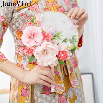 JaneVini Pink Wedding Flower Bouquet Chinese Style Fan Bridal Flowers Bouquets Peony Cover Face Gold Beaded Pearl Red Bride Fans