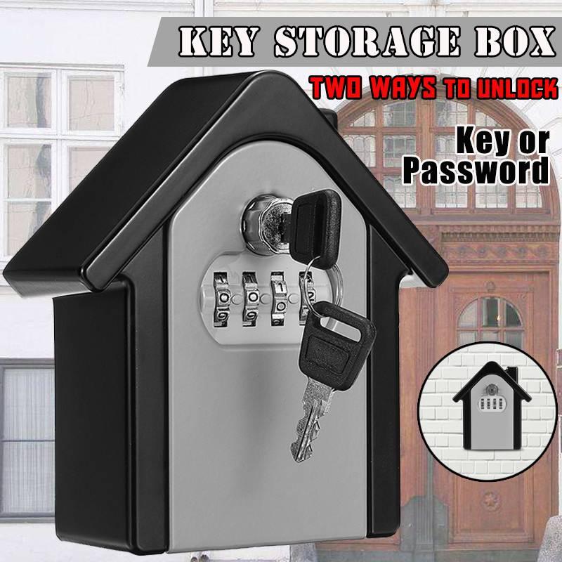 Aluminum Alloy Key Storage Lock Box 4-Digit Combination Lock Wall Mounted Key Safe Box Security Key Holder