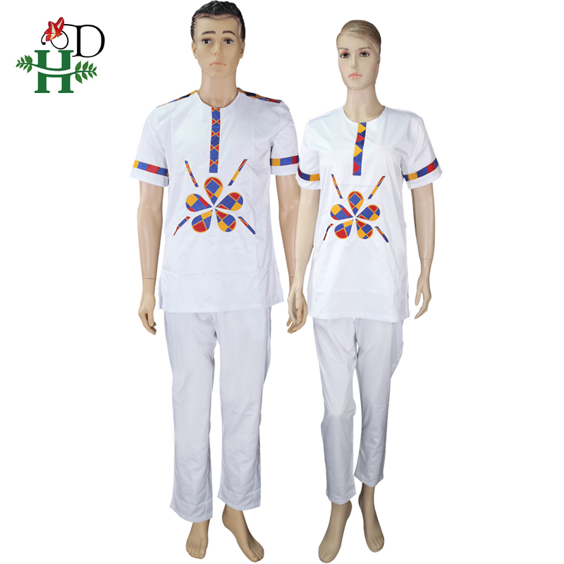 H&D <font><b>african</b></font> couples dashiki clothes set top pants suit for <font><b>men</b></font> and women short sleeve t <font><b>shirt</b></font> embroidered <font><b>wax</b></font> pattern clothing image