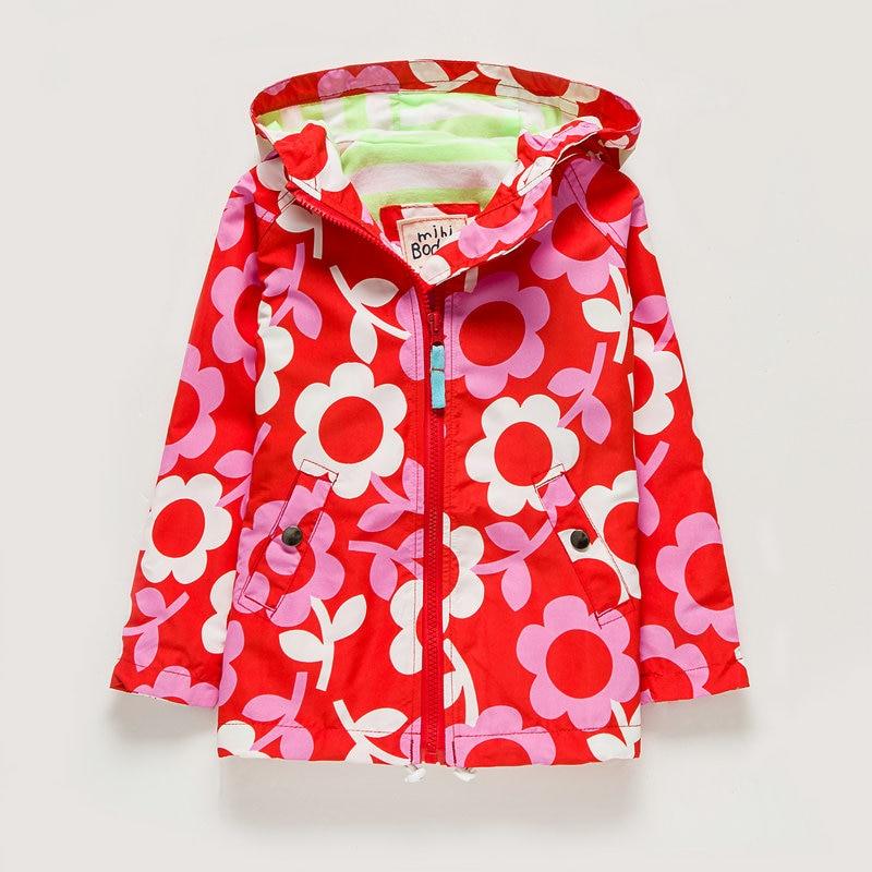 Gyerekruházat Őszi vékony kabát őszi téli kabátok lányoknak 2-8Y Virág kapucnis szélálló vízálló kabát lányok árok kabátja