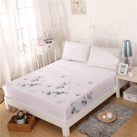 Ink Wash Style Lotus Leaf 100% Cotton Bed Fitted Sheet Full Elastic with Deep Pocket Fit Mattresses Up to 11 White Bedding