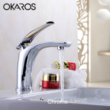 OKAROS Basin Faucet Water Tap Bathroom Faucet Solid Black Red Brass Chrome Gold Finish Single Handle Water Sink Tap Mixer