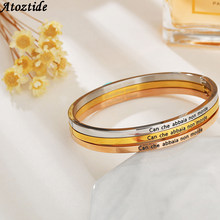 Atoztide Trendy Golden Love Inspirational Bracelet Stainless Steel Italian Lucky Cuff Bangles Women Letter Bangle Gifts(China)