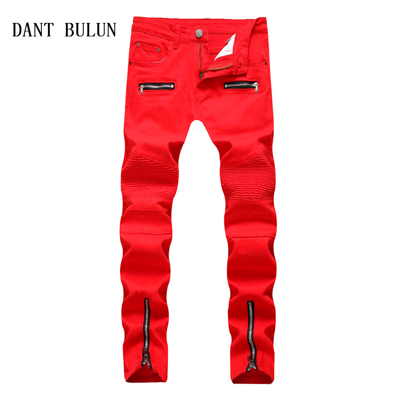 DANT BULUN Mens Hi Street Biker Jeans Pants With Ankle Zipper Straight Skinny Stretch Red White Black Motorcycle Denim Trousers