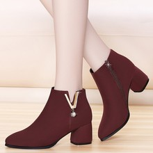 2018 Fashion Chelsea Boots Kid Suede Ankle Boots Women Genuine Leather Winter Autumn Boots Thick Heels Zip Female Shoes YG-B0017 morazora boots female cow suede fashion shoes zip solid leather boots spring autumn med heels shoes ankle boots for women