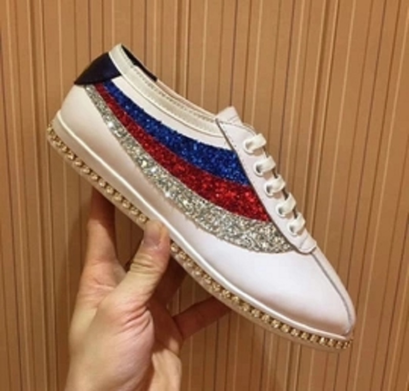 2018 new rhinestone inlay lace-up casual shoes leather embroidery fashion wild women's shoes letter b shape rhinestone inlay hairclip