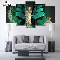 5 Peças de Arte Da Parede Da Lona HD Impresso Asa Verde Nu Cópia Da Lona Pintura Imagem Sala de estar Decoração de Casa Ângulo menina imagem