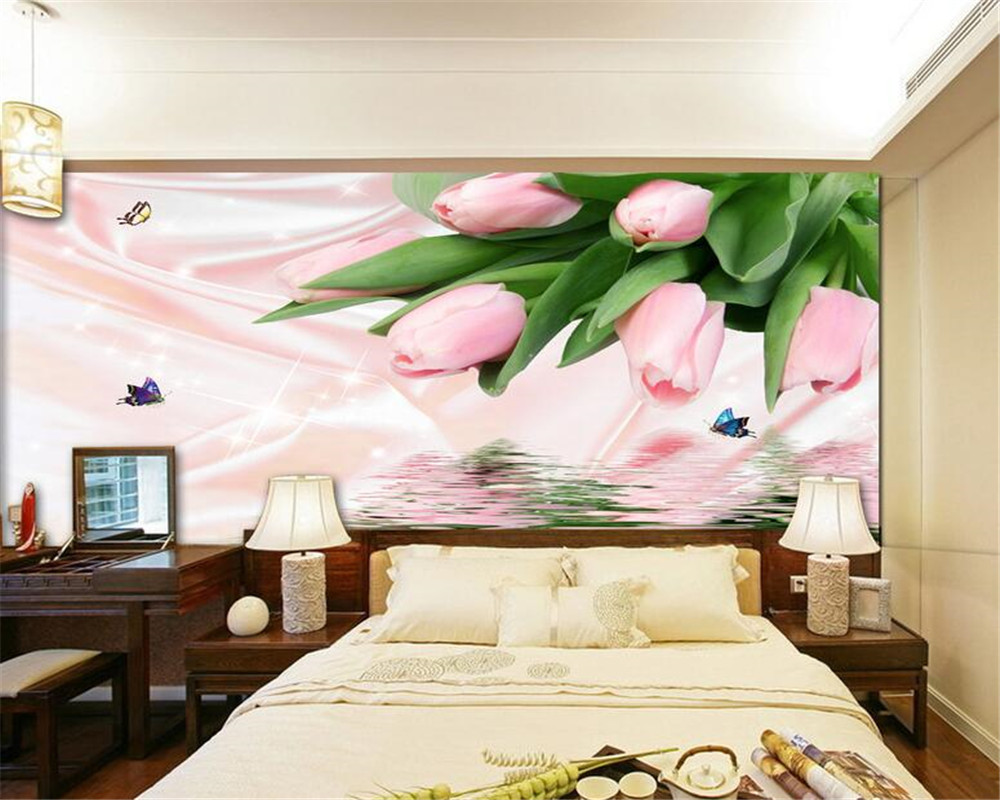 Beibehang wallpaper for walls 3 d Fashion flowers water tulips background wall wallpaper papel de parede photo wallpaper Mural beibehang photo wall mural 3d wall paper custom retro rose lily background wallpaper papel de parede 3d wallpaper for walls 3 d